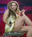 Beyonce Knowles fishnet stockings