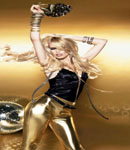 Claudia Schiffer gold pants