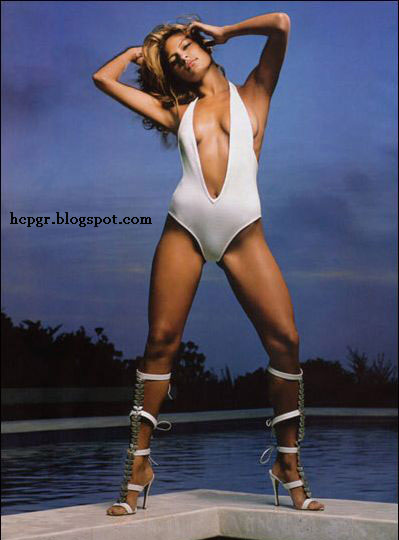 Eva Mendes white bathing suit