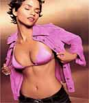 Halle Berry Pink Bra, bare belly