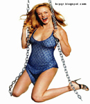 Heather Graham swinging on a chain in swimsuit