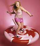 Hilary Duff short pink vinyl skirt