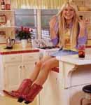 Hilary Duff denim and cowboy boots