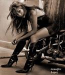 Jennifer Lopez boots, leather dress, Harley