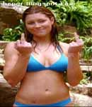 Jessica Biel bikini, giving the finger