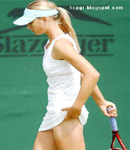 Maria Sharapova lifts white skirt