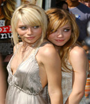 The Olsen Twins rubbing each other.