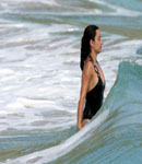 Penelope Cruz gets hit with wave