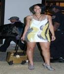 Rihanna tight dress, high heels