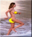 Uma Thurman running into water