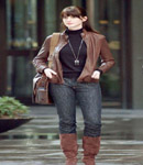 Anne Hathaway brown leather jacket & boots