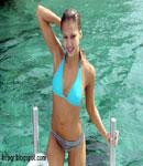 Jessica Alba blue water bikini