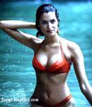Yasmeen Ghauri red bikini