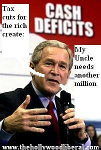 Only Bush would  speak with a sign that says Cash Deficits in the background 030705