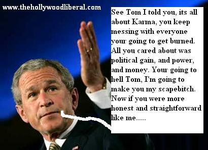President Bush has a few words for Tom Delay, 041605
