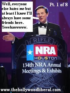 Tom Delay at The NRA Meeting in Houston greets the audience 041705