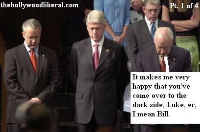 Bill Clinton, and Dick Cheney meet at a political function 042105