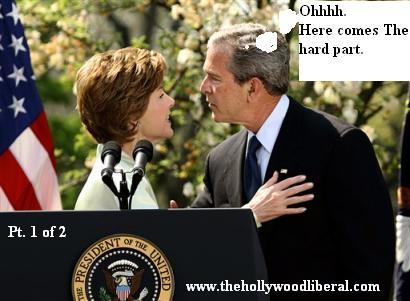 George W. Bush kisses his wif