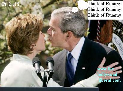 OK lets get this over with...George Bush has other things on his mind as he kisses his wife.