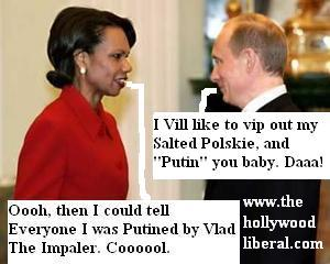 President Vladimir Putin, of Russia, speaks with Condeleeza Rice, at a Political meeting. 042105