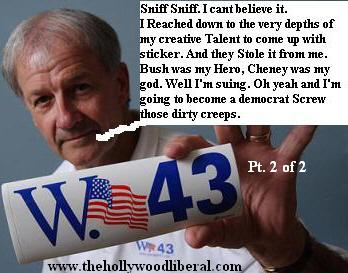 Jerry Gosset is suing The Republicans for stealing the design to his W sticker which he holds up in this pic 042105