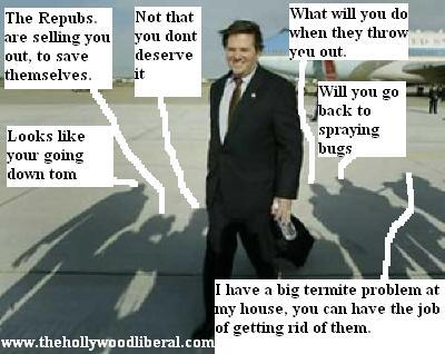 Tom Delay meets with reporters after getting off Air Force 1 042705