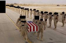 The Pentagon finally released photos of the dead soldiers but blacked out their faces 042805