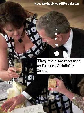 After holding hands with Prince Abdullah, President Bush gets a drink 050205