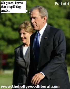 George W. Bush, with his wife Laura and dog Barney 051205