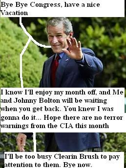 Bush waves goodbye to congress as they leave on vacation, he will appoint John Bolton to the U.N. while they are gone