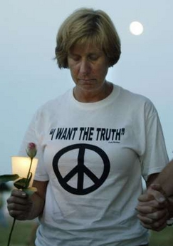 Cindy sheehan in Crawford Texas, Camp Casey attended a candle light vigil for the Iraq war