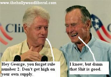 George Bush Sr., and Bill Clinton, talk business in Houston