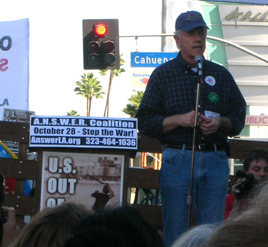 Mike Farrell at Anti war march and rally in Hollywood