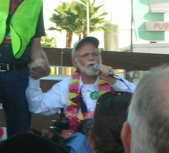 Ron Kovic at anti war march in Los angeles