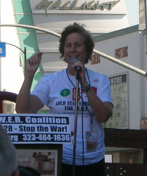 Cindy Sheehan speaks at anti war rally in Hollywood