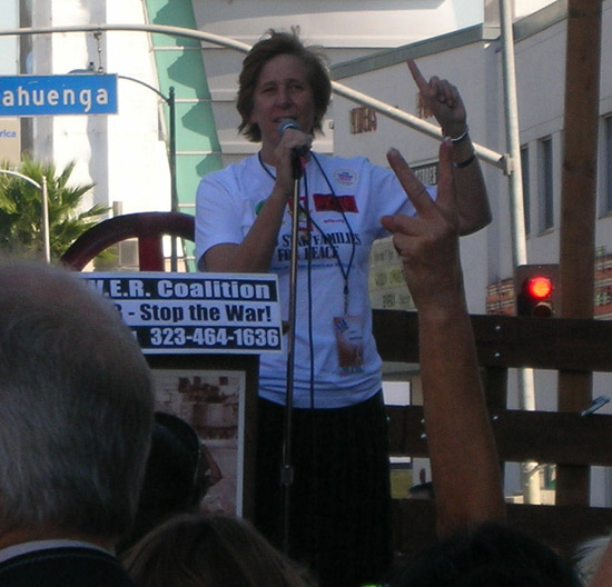 Cindy Sheehan protests the war at anti war march in Los angeles