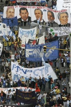 Thousands of Protesters showed up in South America to protest Bush 110405
