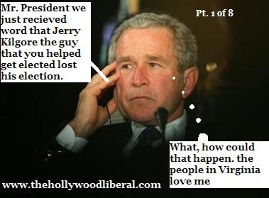 President Bush monitors the 2005 Election results, much to his horror