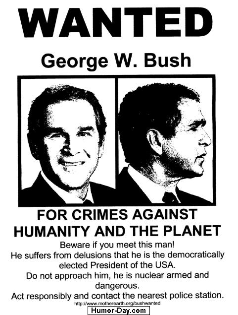 President George W. Bush on a wanted poster 052305