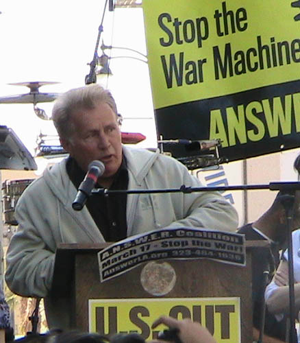 Martin Sheen at anti war rally in Hollywood 031707