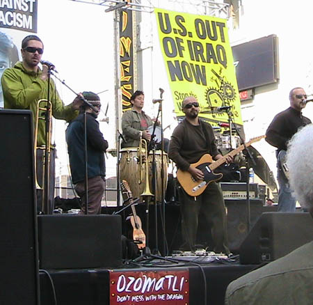 Ozomatli rocks at Hollywood Anti-war rally 3-17-07