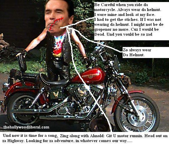 Arnold Swarzenegger after his bike crash