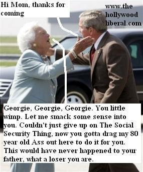 President Bush and his mother Barbara Bush, hold a town hall meeting on Social Security 072405