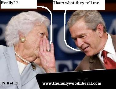 President Bush confers with his mother about his social security plan.