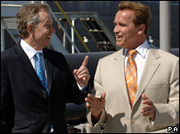 Tony Blair and arnold Scwarzeneggar