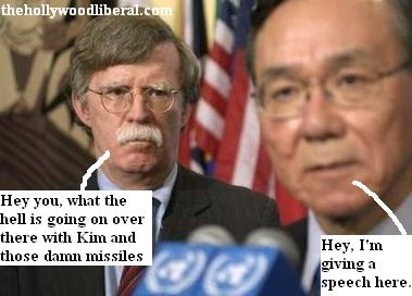 John Bolton yells at a Korean