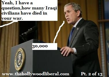 bush says 30000 iraqi civilians in the war