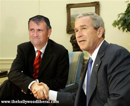 George W. Bush, and Jack Abramoff shake hands