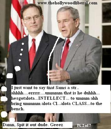 George W. Bush, and Samuel Alito speak with reporters at the white house