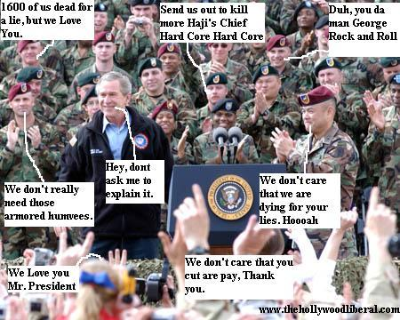 George W. Bush gives a speech to the soldiers, and they him know how they feel 051605